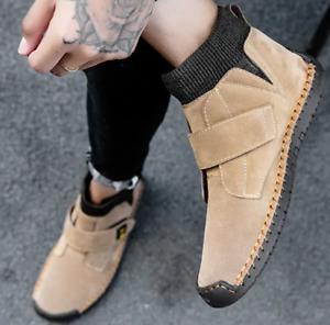 Men Suede Shoes Ankle Boots Mid Top Slip-on Comfort Casual Pumps Flat Plus 38-48
