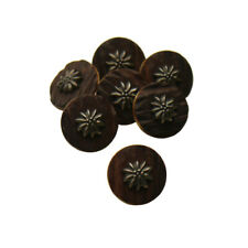 Vintage Round Rustic Floral Shank Apparel Buttons Faux Dark Brown Woodgrain 17mm