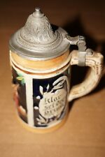 "GERMAN VINTAGE DECORATIVE COLORFUL 1/8 LITER BEER MUG WITH LID  5.75"" TALL"