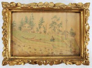 Antique Drawing MARINE HOSPTAL Port Townsend Washington State Florentine Frame