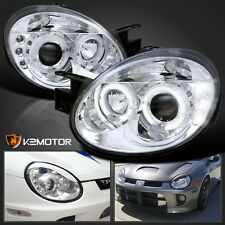 2003-2005 Dodge Neon Chrome LED Halo Projector Headlights Pair