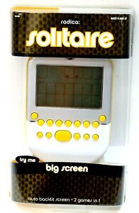 New Radica Big Screen Solitaire Game Lighted Screen Yellow Mattel 2008 Sealed