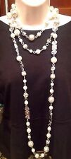 White House Black Market 3 Tier Art Deco Faux Pearl Crystal Necklace-$78-NEW!