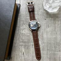 Braune Narbenleder Uhrenarmband Für Panerai Luminor Marina Pam 22mm 24mm 26mm