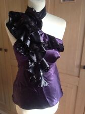 STUNNING KAREN MILLEN DEEP PURPLE SEQUIN HALTER NECK TOP UK SIZE 8 WORK BARLEY