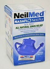 NeilMed NasaFlo Neti Pot All Natural Sinus Relief Blue 1 Premixed Packet NEW