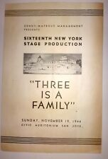 Vintage Theater Program THREE IS A FAMILY 1944