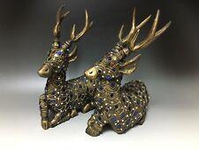 Asian Thailand wooden deer Statue ornament Thai 28cm 鹿②