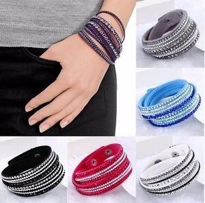 New Leather Wrap Around Multilayer Bracelet Wristband Rhinestone Crystal Fashion