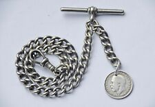 ANTIQUE ALBERT POCKET WATCH CHAIN + 1919 SILVER COIN FOB