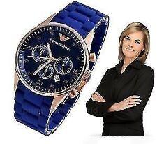 Emporio Armani AR-5807 BLUE Women's Sportive Chronograph Wrist Watch