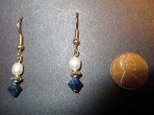 Freshwater Pearl & Jet Black AB Finish Crystal Pierced Earrings - Gold Tone NEW
