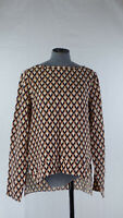 Zara Geometric Print Hi-Low Hem Top Relaxed Blouse Long Sleeve Boat Neck size S