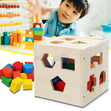 Wood Toys Shape Sorter Puzzle Box Toddler Buildings Educational Birthday Gift