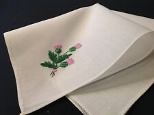 #4991🌟Vintage Cutter Purple Thistle Floral Embroidery Handkerchief