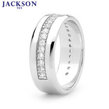 Jackson 925 Sterling Silver Round GEMSTONE Men's Dress Wedding Ring Size W