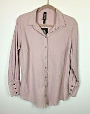 NWT Marla Wynne Women's Small Textured Blouse, Mauve, Long Sleeve, Button-Front