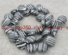 New 12mm Black White Turkey Turquoise Coin Gemstone Loose Beads 15'' AAA