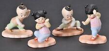 Vintage Flambro Asian Martial Arts Porcelain Figurines Lot of 4 Karate Taiwan