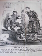 Caricature Litho 1863 Question de droit Affaires de ménage Polonais