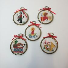 """5 Cross Stitch Christmas Ornaments 3"""" Angel Toy Soldier Duck Joy Candle"""