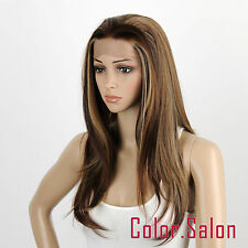 HAND TIED Synthetic LACE FRONT FULL WIGS GLUELESS Dark Brown/Blonde 96#6/12/24