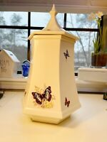 Vintage Hand Painted Ceramic Cookie Jar/canister, Hexagon White w/ Butterflies