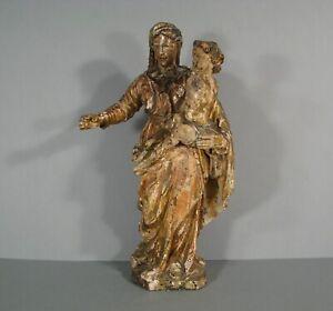 VIERGE A L'ENFANT SCULPTURE ANCIENNE STATUE BOIS POLYCHROME XVIIIème SIÈCLE