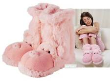 Aroma Home Fun For Feet PIG Slipper Socks Plush Pink Fur Slipper Booties UK 3-7