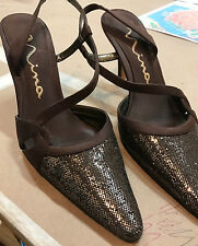Barely used NINA cocoa glitter leather satin heels SANDALS SHOES PUMPS Defect 7