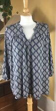 Lucky Brand Size 3X Slit Neck Band Collar Blue Light Tan Printed Knit Top Blouse