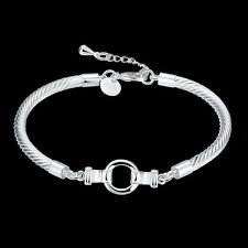 """Wholesale 925Sterling Silver Lovely Round Cable Chain Women Bracelet 8"""" HY414"""