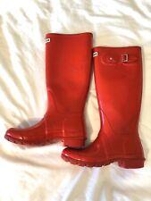 HUNTER US Sz 6 EUR 37 Women's Original GLOSS Red Tall Rubber Rain Boots W23616