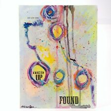 """FOUND"" Abstract Art Mixed Media Painting on Paper 12"" x 8"" by Allison Reece"