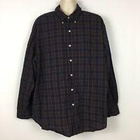 Chaps Men's 3XB Big Tall Button Down Long Sleeve Blue Red Plaid Easy Care Shirt