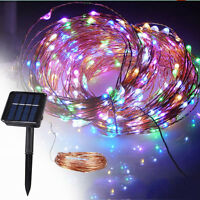 10M LED Solar Powered Copper wire Fairy Light Party Garden Christmas Decoration