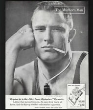 1957 Vintage Print Ad 50's MARLBORO man athlete smoking wrestling image buzz cut