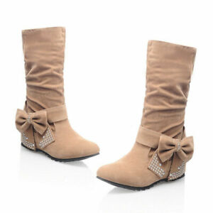 Womens Mid Calf Boots Suede Round Toe Hidden Heels Boot Bowknot Rhinestone Shoes