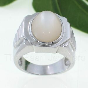 Solid 925 Sterling Silver Cabochon Mother of Pearl Men's Ring - TPJ
