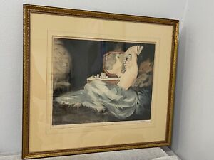 Antique French Art Deco William Ablett Signed Etching Boudoir Print Nude Woman