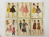 Lot of 6 Vintage 60s Sewing Patterns McCalls Womens Dresses Doll Clothes
