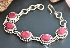"Pretty Ethnic Style Madagascar Ruby 925 Sterling Solid Silver 7.25"" Bracelet"