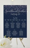 Personalised Navy and white Wedding Table Plan / Seating Chart confetti A3 A2 A1