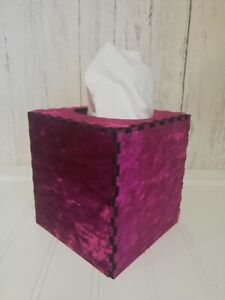 Tissue Box Cover Made W/ Pink Crushed Velvet Fuchsia Fabric Cube Square