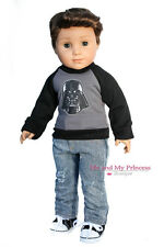 SPACE Shirt + Denim Jeans + Shoes Clothes for 18 inch American Boy logan Doll