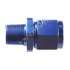 """8AN To 3/8"""" NPT Female Swivel To Male Straight Aluminum Fitting Adapter Blue"""
