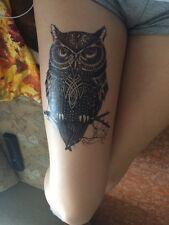 Black Temporary Tattoo Stickers Body Art Waterproof Big Owl