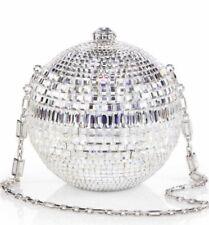 Judith Leiber Disco Sphere Ball Rhine Ballroom Silver BAG Minaudière Crystal NEW