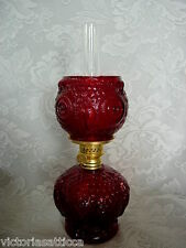 Collectible B&P Ruby Red Pressed Glass Owl Shaped Lantern / Oil Lamp