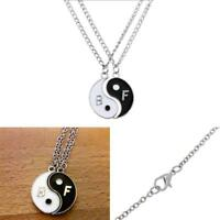 NEW BEST FRIEND Yin Yang 2 Pendants Necklace Set BFF Friendship Ying Vintage UP